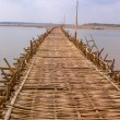 Stock Photo: Long bamboo bridge from Kampong Cham to island