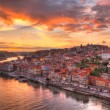 Stock Photo: Porto at river Duoro, sunset