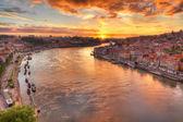 Porto at river Duoro, sunset — Stock Photo