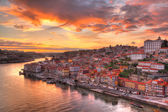 Porto at river Duoro, sunset — Foto de Stock