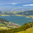 Swiss alpine mountain scenery with lake and little town — Stock Photo