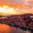 Porto at river Duoro, sunset — Stock Photo