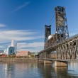 Portland steel bridge and Downtown — Stock Photo