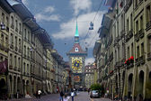 Main street of city Berne with clock tower — Stock Photo
