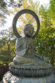 Buddha statue in park with protection gesture — Stock Photo