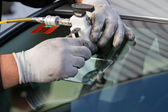 Repair crack in windshield — Stock Photo