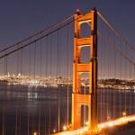 Lighted pylon of Golden Gate bridge — Stock Photo