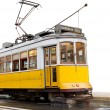 Classic yellow tram of Lisbon isolated on white — Stock Photo