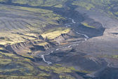 Mount Saint Helens bogland with streams and trenches — Stock Photo