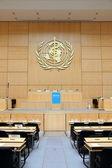 Luidsprekerstandaard van Verenigde Naties in Genève — Stockfoto