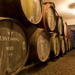 Port wine ages in barrels in cellar — Foto Stock