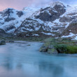 Stock Photo: Glacier stream at sunset Switzerland