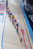 Indoor track bicycle race — Stock Photo