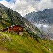 Timber hut with Aletsch glacier — Stock fotografie #9285164