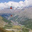 Saas Fee town with cable car — Stock Photo