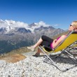 Relax and enjoy the sun in swiss alps — Stock Photo