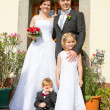 Newly married family at home — Stock Photo #9401957