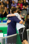 Philippoussis (l.) and Safin after match at Zurich Open — Stok fotoğraf