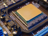 CPU socket on motherboard with installed CPU — Stock Photo