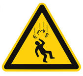 Danger Falling Currencies Warning Sign Isolated Macro — Stock Photo