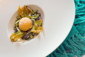 Closeup of fried yolk — Stock Photo