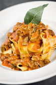 Pappardelle with wild boar — Stock Photo