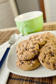 Breakfast with chocolate cookies — Stock Photo