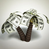 Money tree made of hundred dollar bills — Stock Photo