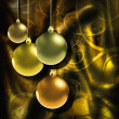 Christmas background with golden baubles — Stock Photo