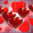 Stock Photo: Christmas background with hearts
