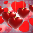 Christmas background with hearts — Stock Photo