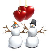 Happy snowman snow woman,cute snowy couple, with a heart — Stock Photo