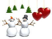 Snowman and snow woman,cute snowy couple, with a heart — Stock Photo