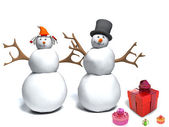 Happy snowman and snow woman with gift boxes — Photo
