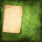 Old paper on grunge background with green leaves — Photo