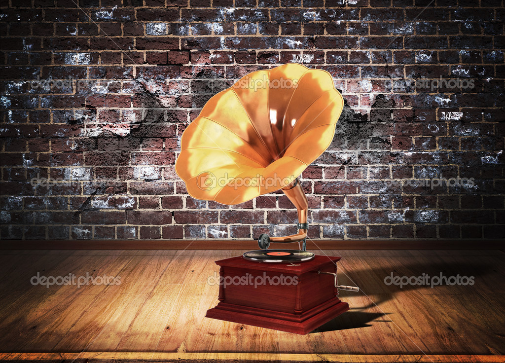 Retro old gramophone over grunge interior — Stock Photo #8775766
