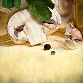 Garlic and champignon - picture in retro style — Stock Photo