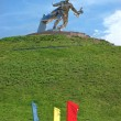 Steel soldier on Tumulus of Glory, near Nova Odessa - Stock Photo