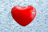 Red heart on frosty background — Stock Photo