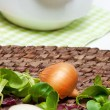 Onion and fresh herbs — Stock Photo #9199917