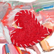 Red heart on handmade watercolor background — Stock Photo