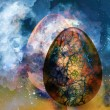 Art abstract background with egg - Stock Photo
