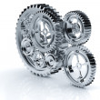 Stock Photo: Gear machinery and titanium concept