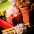 Gift boxes on dark background — Stock Photo