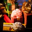 Gift boxes on dark background - Foto Stock