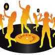 Royalty-Free Stock Vector Image: Silhouettes dancing on vinyl