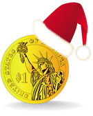 Dollar coin Red Winter Hat — Stockvector