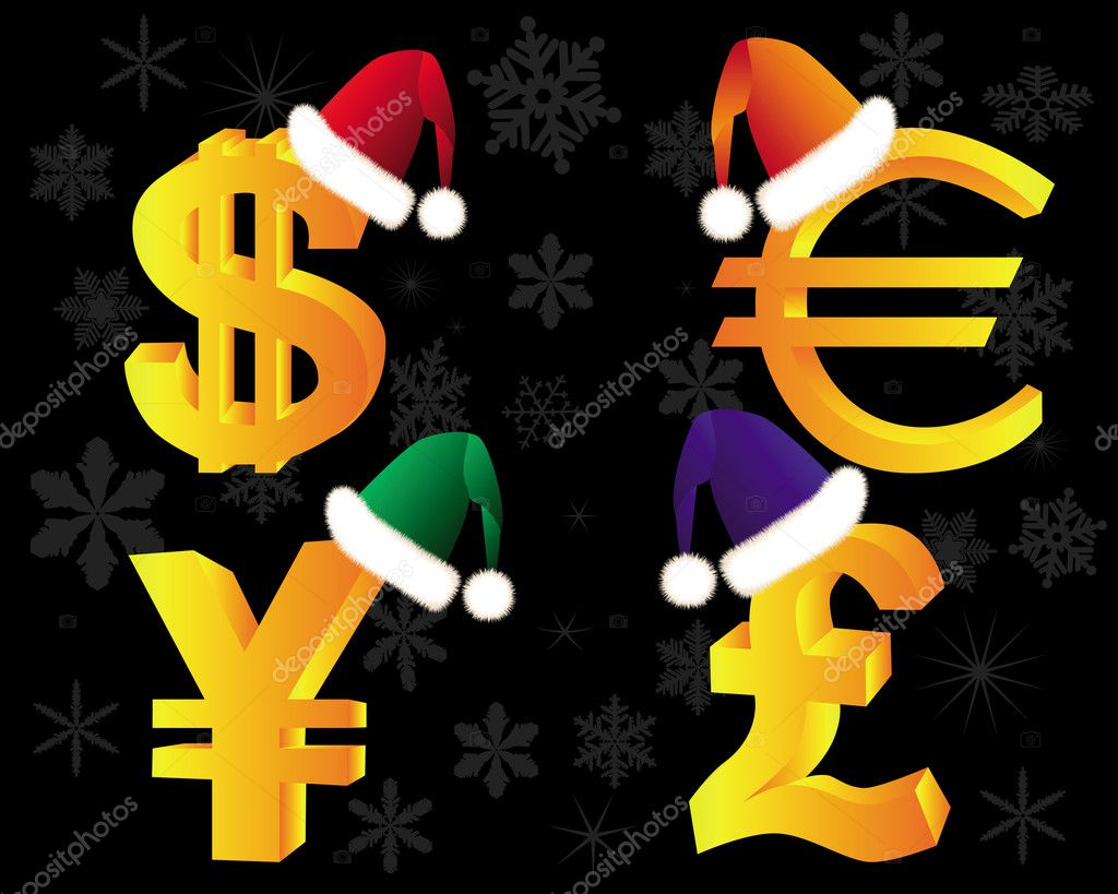 Gold currency symbols in Winter Hat on a black background  Stock Vector #8215032