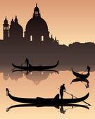 Venetian gondoliers — Stock Vector