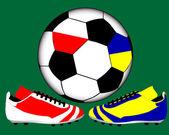 Due scarpe nei colori nazionali della polonia e ucraina — Vettoriale Stock